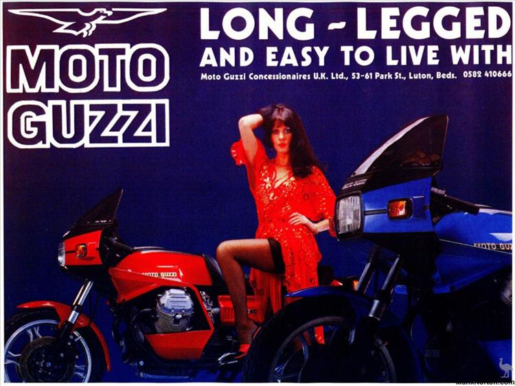 2 Moto Guzzi motorcycles and a sultry lady posing from the 80s