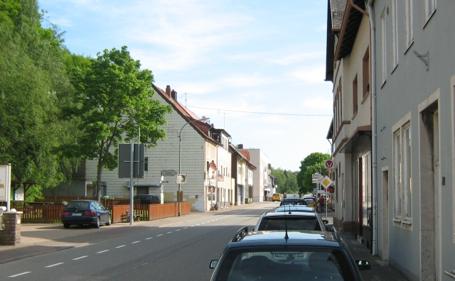 a street filled with houses, trees and cars in a small german town