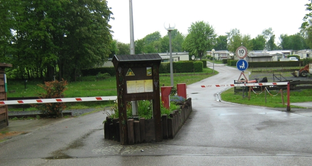 barriers across the entrance to the campsite at bastogne
