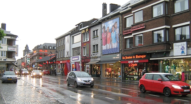 bastogne town centre in the rain, much like any other wet town centre