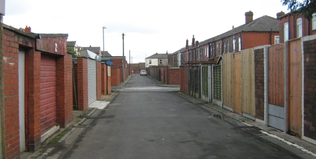 a back street behind terraced houses