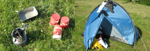 camping stove, jars and my tent with clothes on top