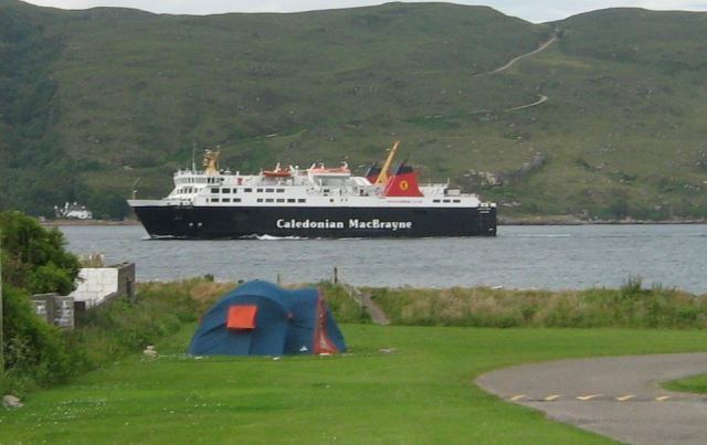 the calmac ferry from ullapool to stornoway on loch broom seen from my tent