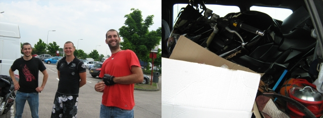 split image - 3 young men smiling at the camera and a black motorcycle squashed into an MPVw ith camping gear