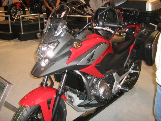 honda's nc 700 x with panniers at the nec bike show