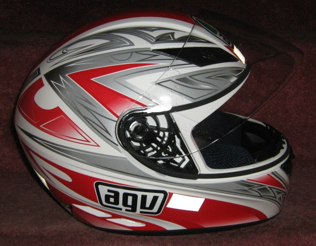 an agv helmet in white, red and silver