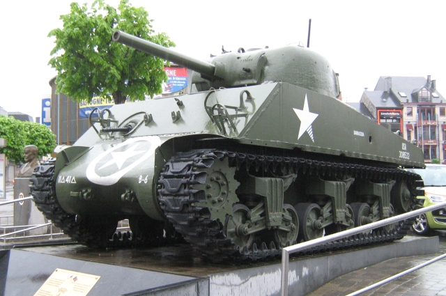 A sherman tank at Bastogne Belgium