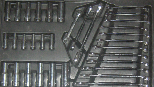 chrome plated spanners and sockets in a plastic tool case