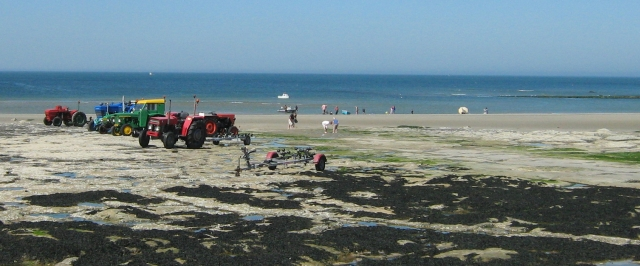 tractors on a sunny beach at ambleteuse
