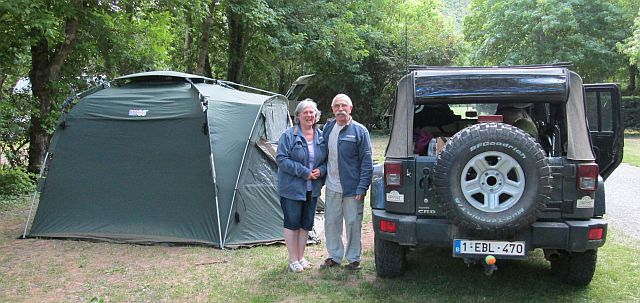 tent, belgium couple and the jeep wrangler posing for the camera at the digne les bains campsite