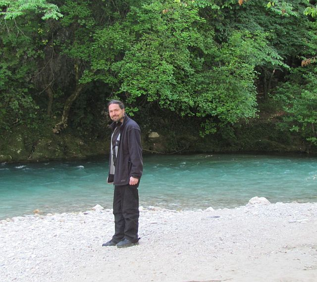 ren standing on sand at the pretty bend in the river, la colle sur loup
