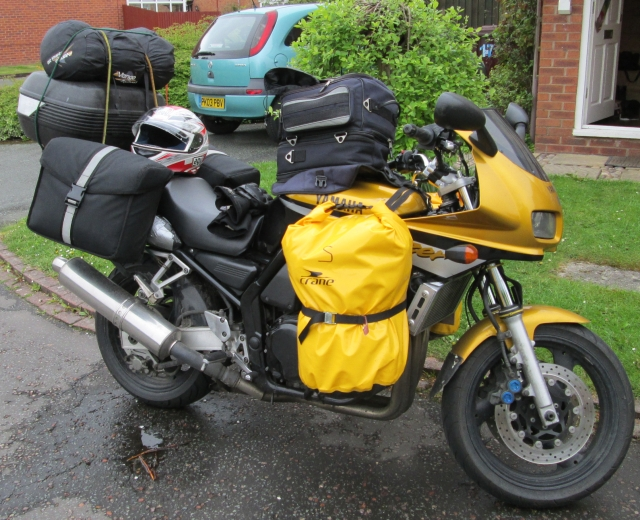 fazer all loaded up with saddle bags side bags, tank bag and tent