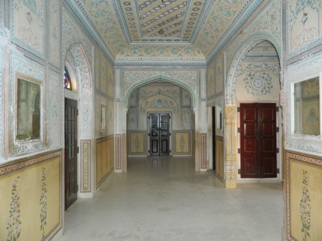 crisp sharp tessalated hallway in an indian palace