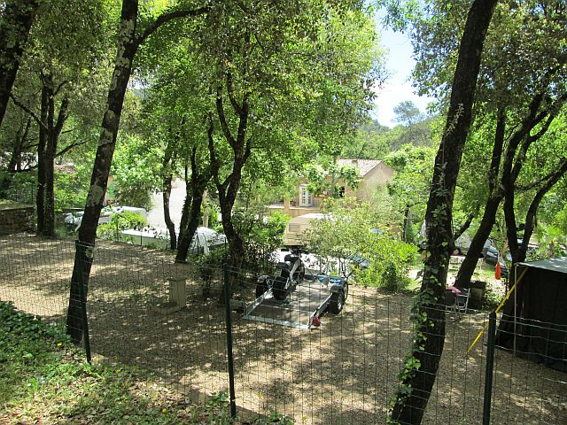 trees and leafy terraces at the campsite in la colle sur loup south of france