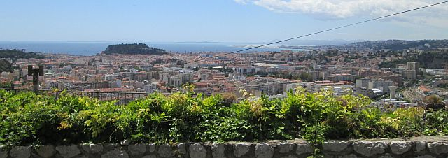 large city by the sea seen from above, the city of nice