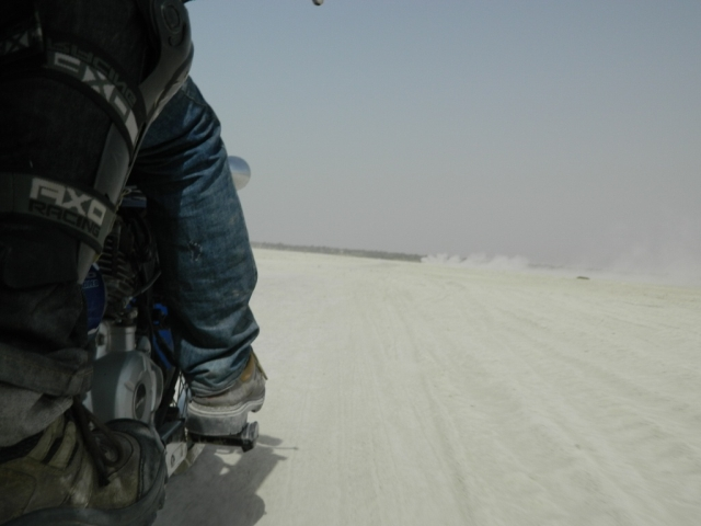 picture taken from a moving bike of the sambhar salt lake