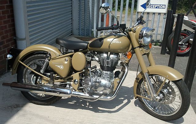 side view of the royal enfield classic desert storm