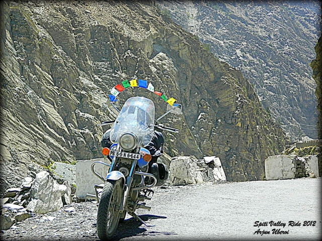 bajaj avenger 220 in an extremely rocky mountain setting