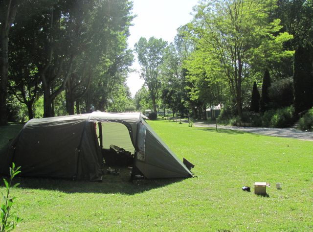 trees and our tent in the sun at the cote sud campsite near millau