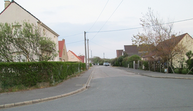 Empty and lifeless street in ambleteuse on a sunday evening