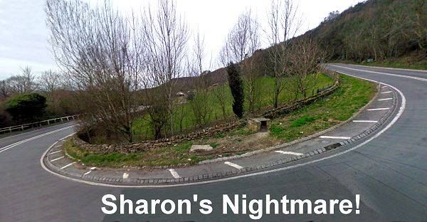 switchback on hill with caption Sharon's nighmare