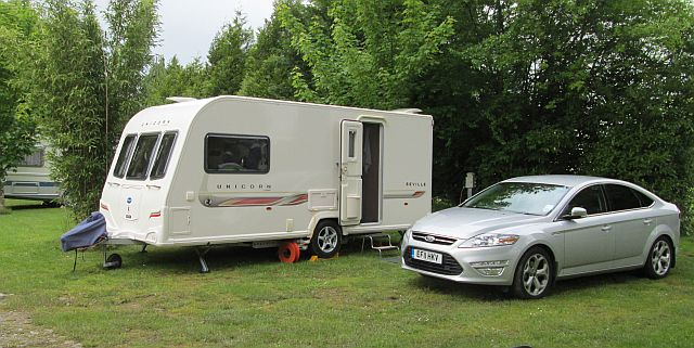 a clean modern and smart caravan and car for the old couple