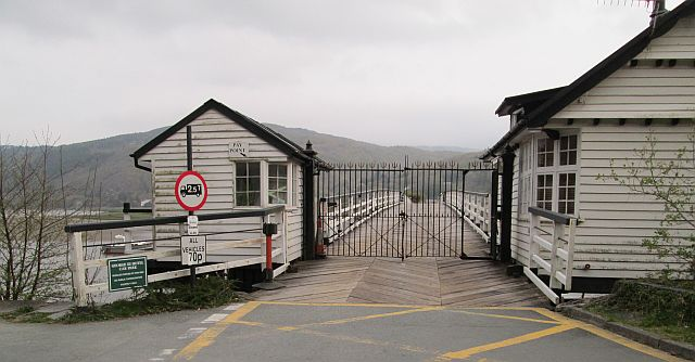 The penmaenpool bridge has a wooden hut where tolls are collected