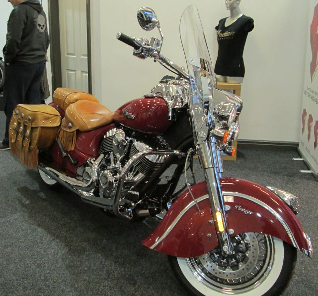 indian chief vintage bagger in red on display at the shop