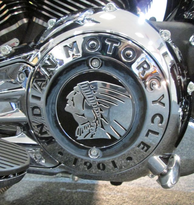 the indian motorcycles logo on the engine casing
