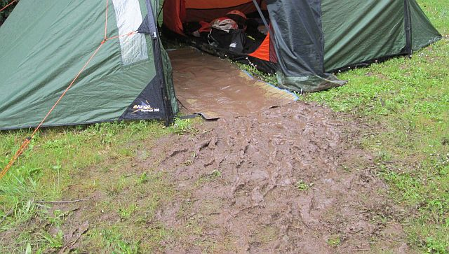 mud running into the tent in the deluge of st sylvestre sur lot