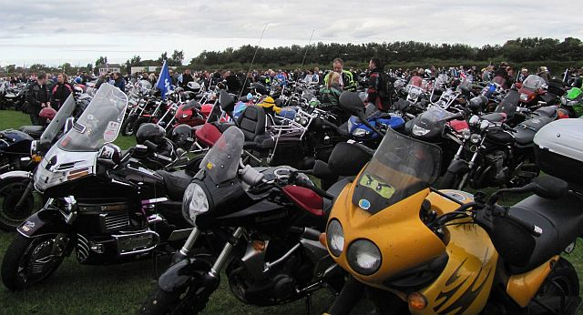a field filled with motorcycles of all makes, models and styles