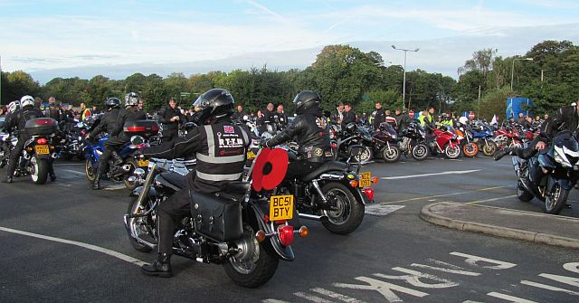 knutsford services filled with motorcycles and bikers