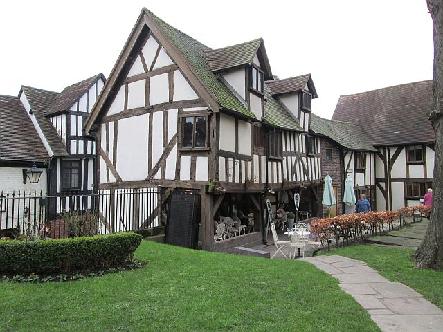 timber framed ancient building in the centre of shrewsbury