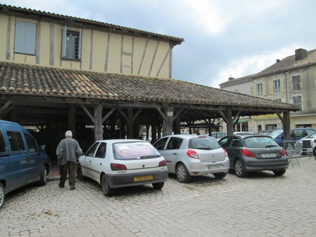 old timber framed market building in villereal france