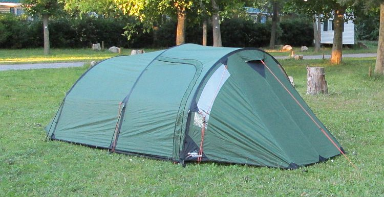 the vango equinox 350 tent pitched on a campsite in france