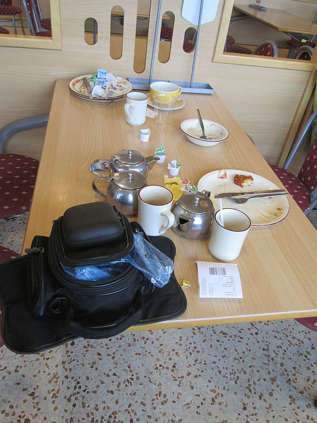 empty plates and cups on the table at morrisons in Carlisle