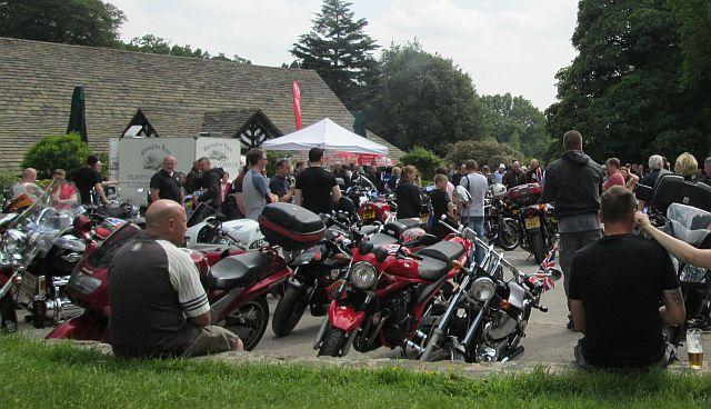 a large gathering of motorcyclists at rivington barn