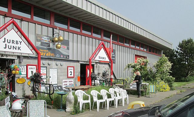 Jurby junk - a steel clad building containing a vast array of junk on the Isle of Man