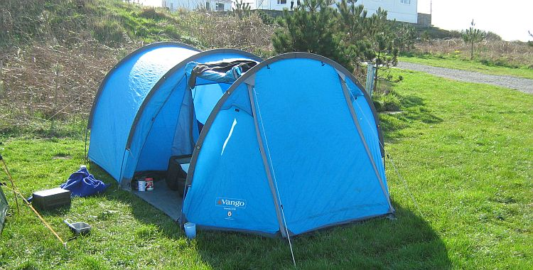my old blue gamma 350 vango tent pitched in the sunshine