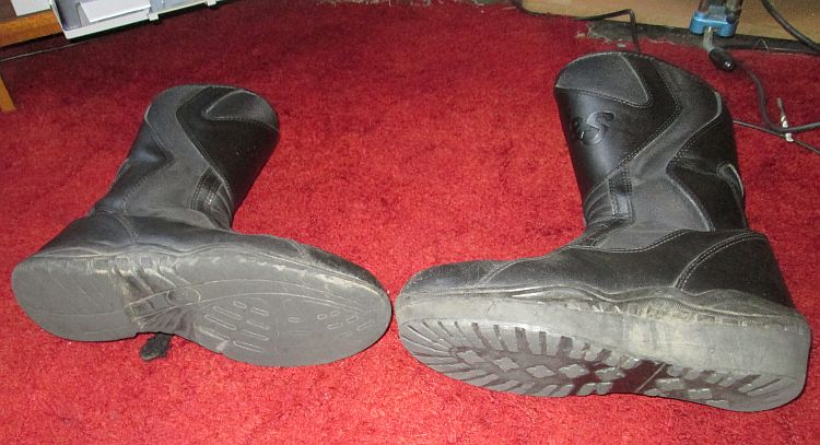 the soles of ren's boots, one with a new sole stuck on