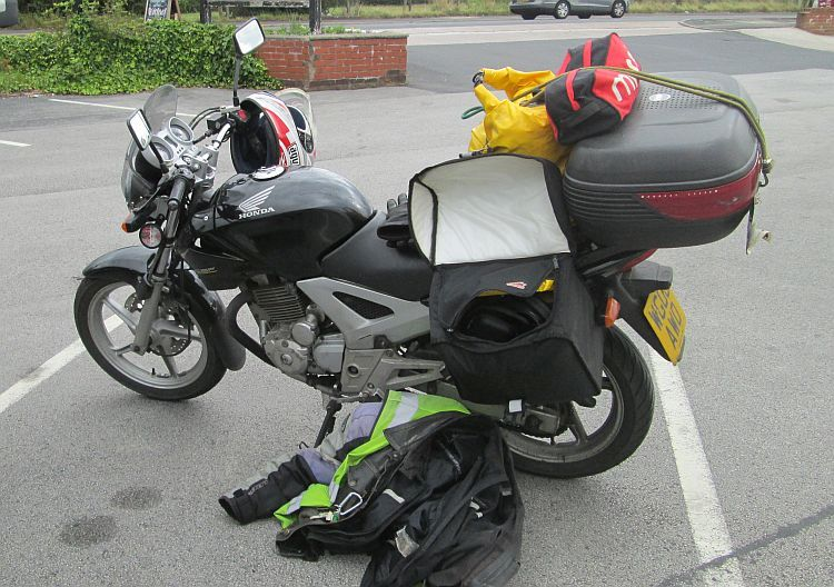 CBF loaded up with panniers and top box, ready to ride to Scotland