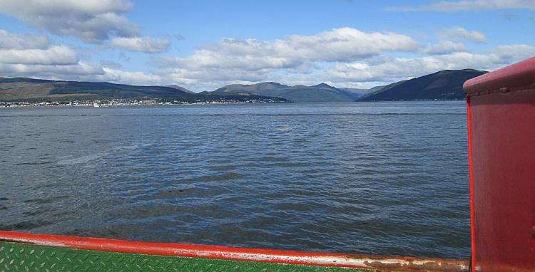 Looking from the ferry up the Loch towards Glasgow. More stunning hills, mountains and water