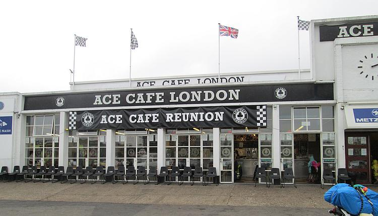 The exterior of the Ace Cafe. A white building of 1940's vintage with large windows