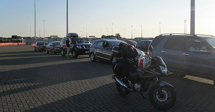 The overladen cbf 125 at Dublin ferry terminal, in the queue