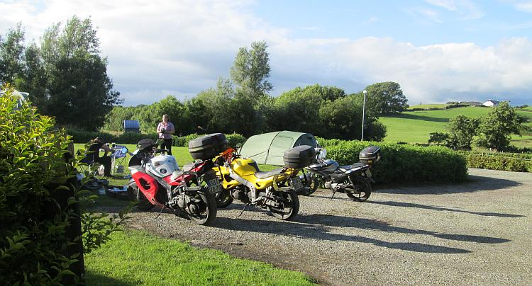 Ren's bike and the 2 German Triumphs at Skibbereen campsite