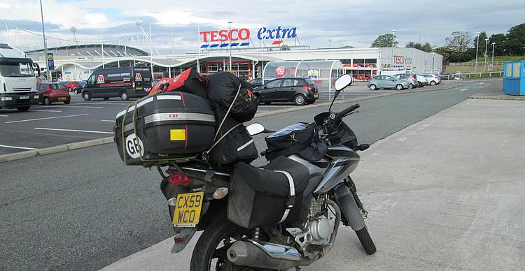 Ren's bike loaded with his camping gear and ready to hit the road at Tesco