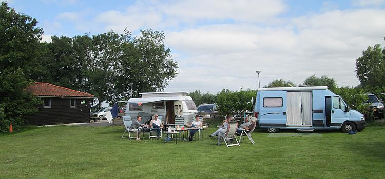 2 campervans and their occumpants at the campsite in Edam