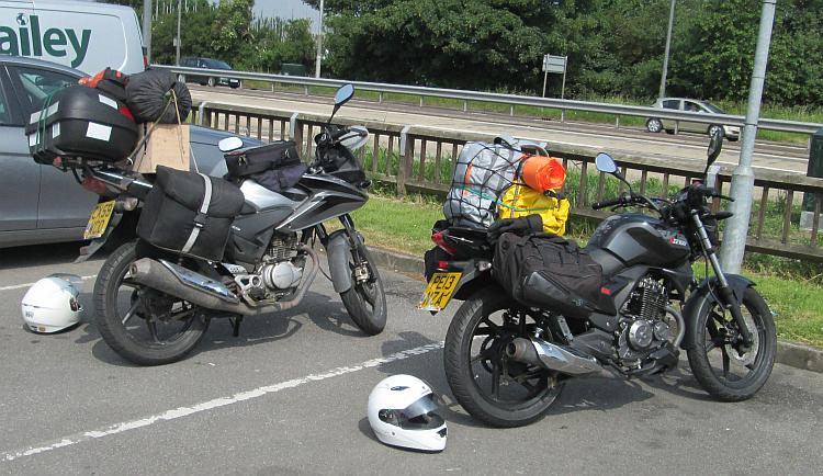 Our 2 125cc bikes, all loaded up with camping gear and the like and ready to go