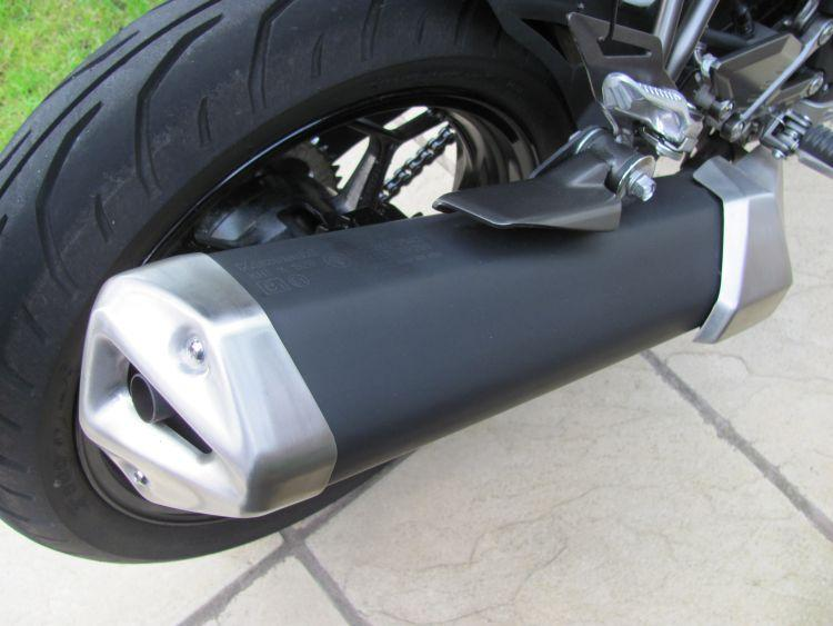 Close up image of the exhaust on Sharons 250