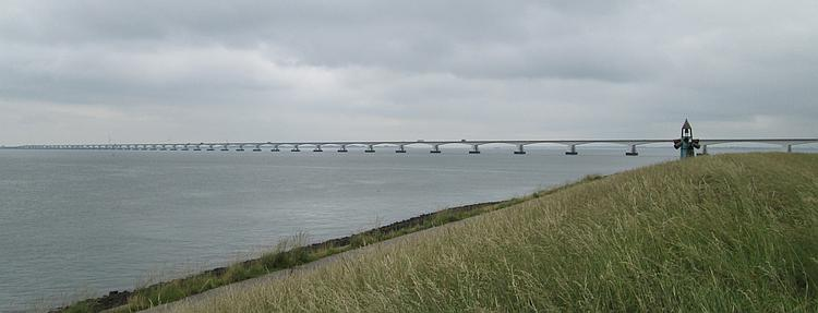 The Zeelandbrug bridge, 3 miles long, many spans and stretching as far as the eye can see